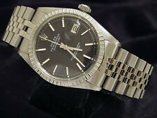 Rolex Datejust Mens Stainless Steel Jubilee Engine-Turned Black Dial Watch 1603