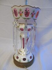 Czech Bohemian White Cut to Cranberry Glass Lamp w/ Lusters 19""