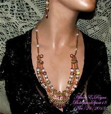 AWESOME BAROQUE PEARLS AUSTRIAN RHINESTONE CZECH GLASS BRASS BEADS NECKLACE SET