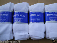 Best quality 12 pair of mens white Diabetic crew socks 10-13 sz ( MADE IN USA )