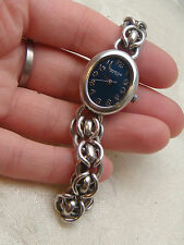 KENNETH COLE WATCH CHAIN BAND KC4054 BLUE FACE VINTAGE ANTIQUE STAINLESS STEEL