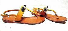 NEW COACH GRACIE CANARY GOLD LEATHER FLAT THONG SANDALS SHOES  SZ 7 M SAMPLES