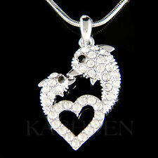 w Swarovski Crystal Mother Daughter Mom Baby DOLPHIN Love Heart Necklace Jewelry