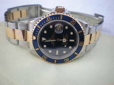"♛♛ ROLEX ♛ Blue Dial Submariner Date 18k Gold & Steel 16613 Automatic ""P"" 2002 ♛"