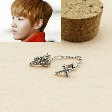 1PIC KRIS EXO EXACT PUNK Fashion Double Stud Link Wing Cross Earring FR613
