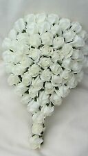 IVORY ROSES TEARDROP BRIDES BOUQUET WEDDING FLOWERS SIMPLE PLAIN SATIN HANDLE