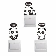 3PC Switch Panda Cartoon Wall Sticker Light Switch Decor Decal Mural Baby Room