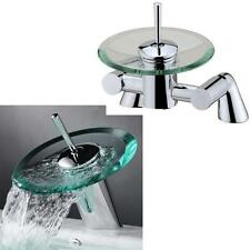 Glass & Chrome Waterfall  Bath Filler And Basin Mixer Taps Set (1RR)
