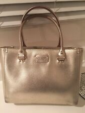 Kate Spade New York Metallic Leather Satchel Gold Purse Handbag Tote Medium Bag