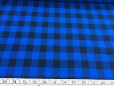 "Black/Royal Buffalo Plaid Cotton Flannel Fabric 58"" Wide By The Yard"
