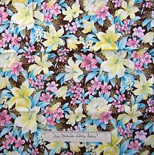 Calico Fabric - Melody Pink Yellow Brown Floral Flower - Kings Road Cotton 20""