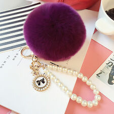 Cute Real Rabbit Fur Ball Fluffy Pom Pom Key Chain Ring Handbag Car accessories