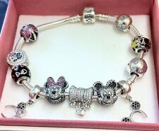 Pandora Charm Bracelet With 11 Disney Charms Ltd Ed Mickey Minnie Portrait New