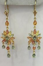 14k Solid Yellow Gold Dangle Leverback Earrings w/ Natural Multi Color Sapphire