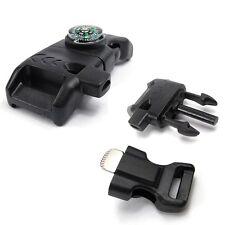 5X Multi-Function Flint Fire Starter Survival Side Release Whistle Buckle Black
