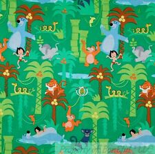 BonEful Fabric Cotton Quilt Green Jungle Book Bear Boy Disney African Girl SCRAP