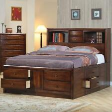 Coaster 200609KE Eastern King Size Bookcase Bed In Warm Brown Finish