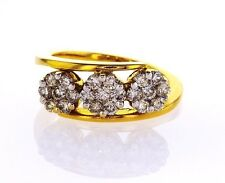 14K Yellow Gold Natural Round Cut Diamond Ring 0.98 TCW G color SI1 Clarity