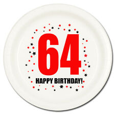 64th BIRTHDAY DESSERT PLATES 8/pk Small Lunch Plate Birthday Party Supplies T143