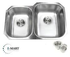 """32"""" Stainless Steel Double 40/60 Bowl 18 Gauge Undermount Kitchen Sink &Strainer"""