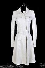 New VERSACE Off White Polka Dot Leather Trench Coat