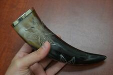 "CARVED BEACH WATER BUFFALO HORN GAME OF THRONE DRINKING CUP 8"" - 9"" #T-2828"