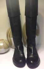 Ann Demeulemeester Heavy Black Triple Sole Leather Boots 39 8.5 Made in Italy