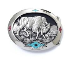 SOUTHWEST BULL TURQUOISE BELT BUCKLE 17133 new western inlay belt buckles
