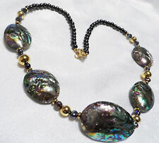 Lee Sands Abalone Shell and Cultured Pearl Necklace 22 inches NIB NOS