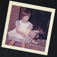 Vintage Photograph Adorable Little Girl Sitting By Fireplace Reading Book