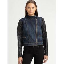 S $550 rag & bone/JEAN Leather-Sleeve Denim Moto Jacket