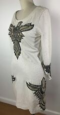 NWT $695 Haute Hippie Beaded Long Sleeve Above Knee Beige Pencil Dress 6 S