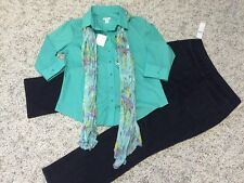 NWT!!  Women's 3 Piece Clothing Lot. Lg. Top; 14P Cold water Creek Jeans; Scarf