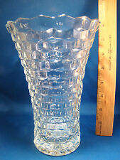 "COLONY Indiana Glass WHITEHALL 7 3/4"" Stack Cube Style Vase Clear Glass @24"