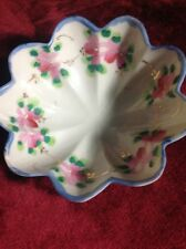 Hand Painted Footed Bowl With Floral Pattern