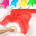 New 7 Colors Belly Dance Bamboo Long Silk Fans Veils Hand Made Silk Fan 1.8m