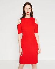 ZARA Red Cold Shoulder Dress Work Office Business Size M Bodycon Pencil Wedding