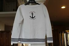 Lauren Ralph Lauren White Boatneck Sweater Blue Anchor Ladies M  (bin119)
