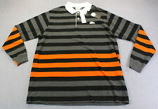 LACOSTE Men BLACK ORANGE STRIPE GLOW BIG CROCODILE RUGBY SHIRT NWT LT TALL  $135