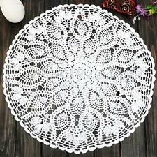 60CM Round Cotton White Pineapple Floral Hand Crochet Doily Placemat Table Cloth