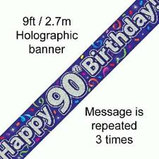 90TH BIRTHDAY PURPLE HOLOGRAPHIC HAPPY BIRTHDAY PARTY BANNER 2.7M (9FT) LONG