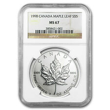 1998 1 oz Silver Canadian Maple Leaf Coin - MS-67 NGC - SKU #81754