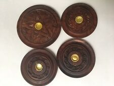 4 Lot Wood Round Incense burner Holder Carved Sticks Cone Plate Dish Ash Catcher