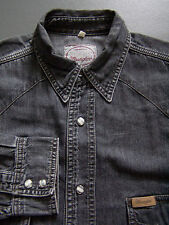 WRANGLER WESTERN DENIM SHIRT MEN'S MEDIUM LARGE GREY PEARL SNAPS VINTAGE LSHZ096