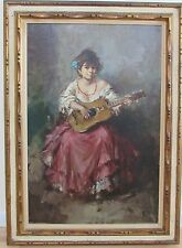VINTAGE  IMPRESSIONISM PORTRAIT GIRL WITH GIUTAR OIL PAINTING O/C 1960s LARGE