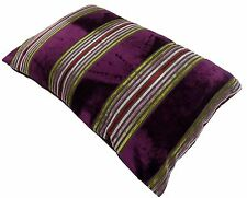 PENZANCE PURPLE HEATHER RED STRIPE SOFT VELVET BOUDOIR CUSHION COVER 40X60CM #AB