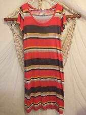 Anthropologie Saturday Sunday Size Large Striped Red Long Soft Maxi Shirt Dress