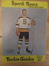 Boston BRUINS 1961 Program vs NEW YORK RANGERS Dit Clapper Gump Worsley Ratelle
