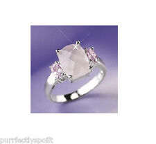 BRAND NEW STUNNING STERLING SILVER & GENUINE PINK ROSE QUARTZ LADIES RING - LGE