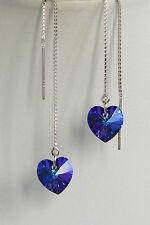 Purple HEART STERLING SILVER 925 Threader EARRINGS SWAROVSKI Elements CRYSTAL